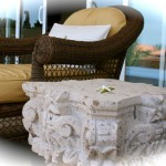 "Chaise and ""cantera"" stone table"