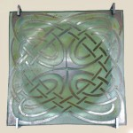 Molded glass plate with silver