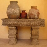 Antique stone console and pots from an old Mexican Church